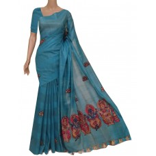 Teal semi-Tussar saree with hand painted Kalamkari applique