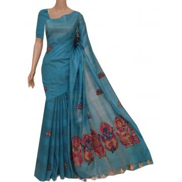 Teal semi-Tussar saree with hand painted Kalamkari applique