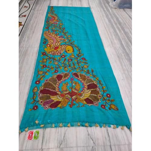 Teal silk-cotton saree with hand-painted Kalamkari applique