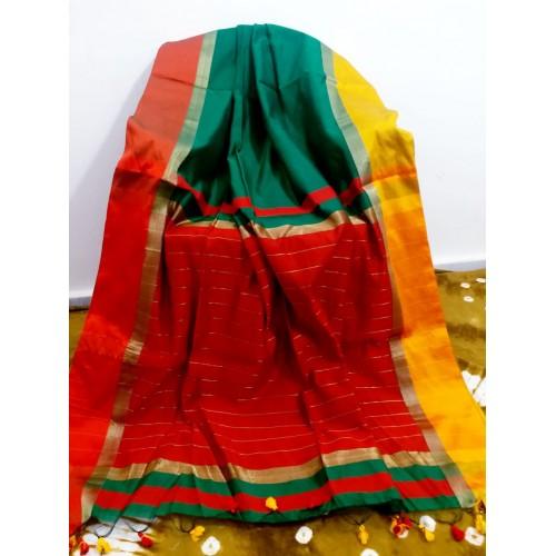 Teal silk-cotton saree with Ganga-Jamuna border
