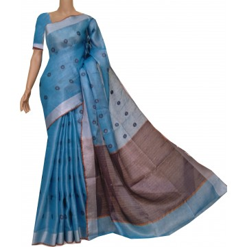 Turquoise tissue linen saree with woven motifs