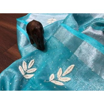 Turquoise tissue linen saree with pearl embroidery