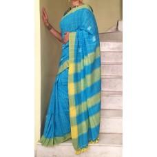 Turquoise and yellow checks Khadi Bengal cotton saree