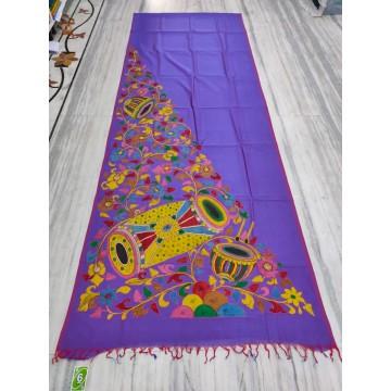 Violet silk-cotton saree with hand-painted Kalamkari applique