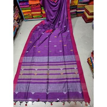 Violet tribal weaving Khadi cotton saree