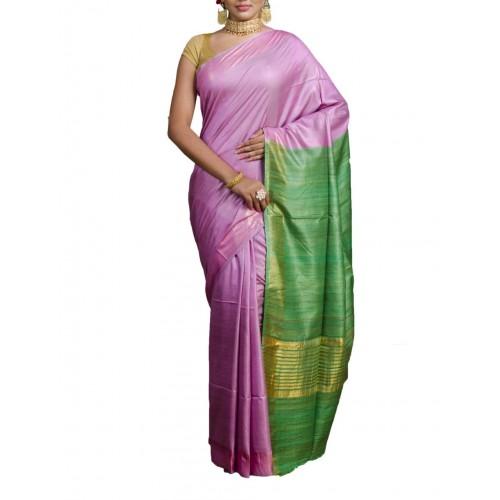 Violet Tussar silk saree with green Ghicha pallu