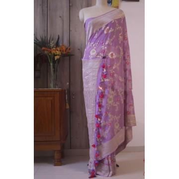 Violet minakari Banarasi georgette saree