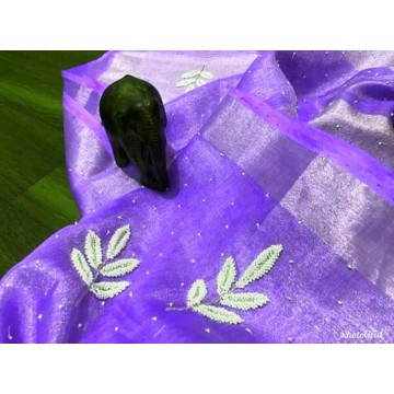 Violet tissue linen saree with pearl embroidery