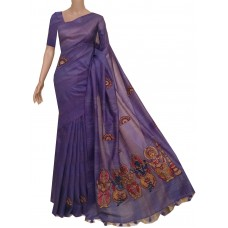 Violet semi-Tussar saree with hand painted Kalamkari applique
