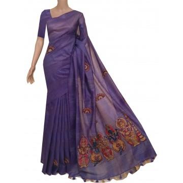 Violet semi-Tussar saree with hand painted Kalamkari applique