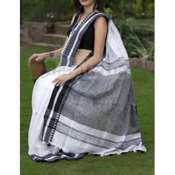 Off-white linen saree with black temple border