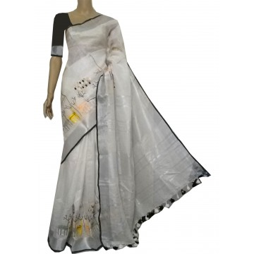 White linen saree with deer embroidery