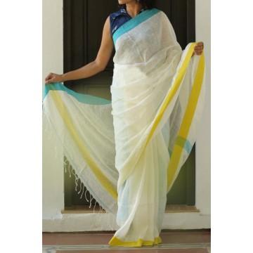 White linen saree with Ganga-Jamuna border