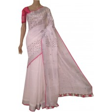 White linen saree with mirrorwork and magenta trim and blouse