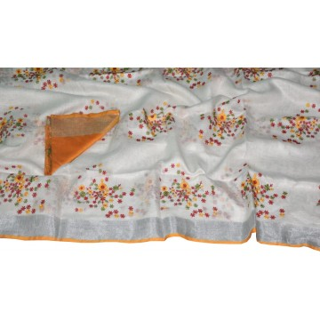 White linen saree with orange floral embroidery