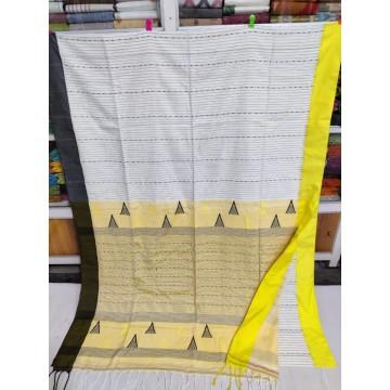 White mercerized cotton saree with jamdani pallu and Kantha stitch