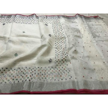 White linen saree with mirrorwork and magenta trim