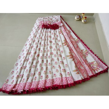 White and pink mul cotton saree with hand block print