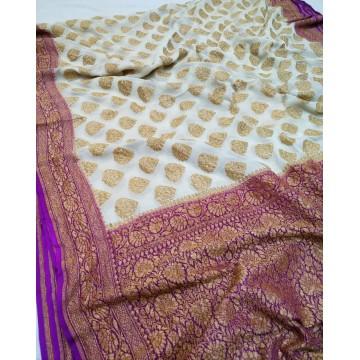 White and purple Khaddi Banarasi chiffon saree with antique gold zari