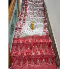 White and red Dhakai Jamdani saree