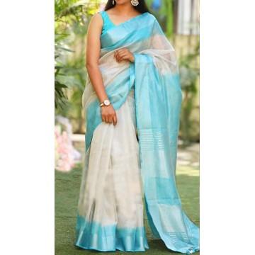 White tissue linen saree with turquoise shibori dyeing