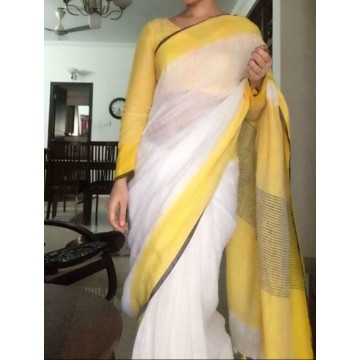 White linen saree with yellow and black border