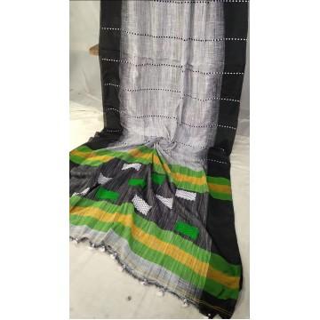 White and black Khadi cotton handloom saree