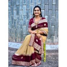 Silver zari Banarasi georgette-chiffon saree with wide border