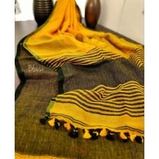 Yellow Khadi cotton saree