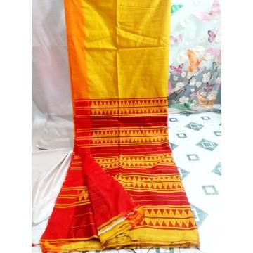 Yellow Bihu silk-cotton saree