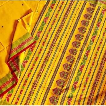 Yellow Dongria weave mercerized cotton saree