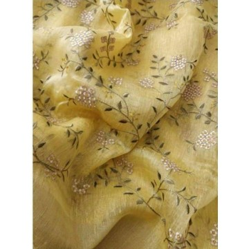 Yellow linen-silk saree with floral embroidery
