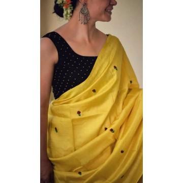 Yellow embroidered Tussar silk saree