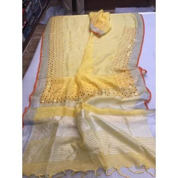 Yellow linen mirrorwork saree
