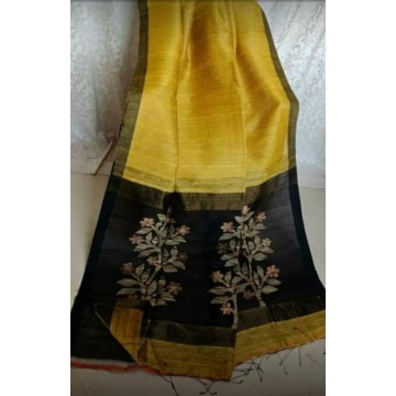 Yellow linen-silk saree with jamdani pallu
