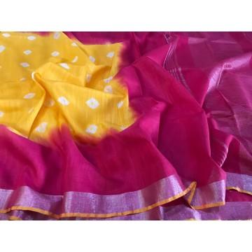 Yellow and magenta Bandhani dyed cotton viscose saree