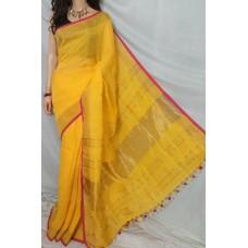Yellow linen saree with magenta trim