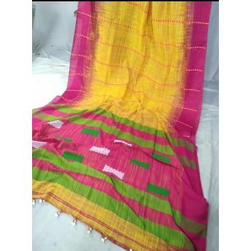 Yellow and magenta Khadi cotton handloom saree