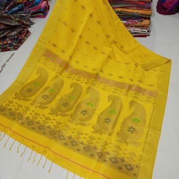Yellow organic linen saree with intricate weaving