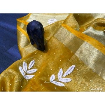 Yellow tissue linen saree with pearl embroidery