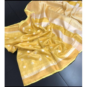 Yellow polka motif tissue linen saree with temple border