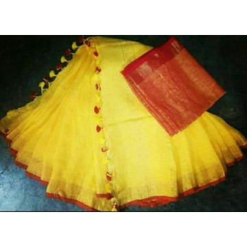 Yellow and red linen saree