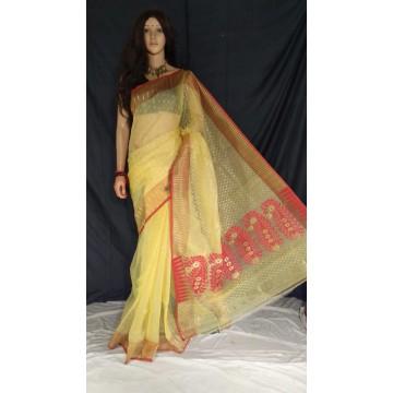 Yellow and red zari jamdani cotton silk saree