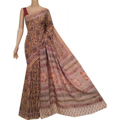 Mustard yellow silk Kalamkari saree with hand block print