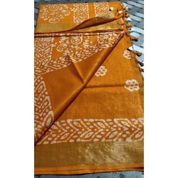 Yellow cotton-viscose saree with Batik print - 1