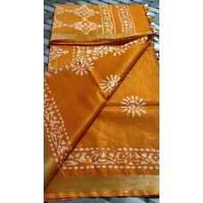 Yellow cotton-viscose saree with Batik print - 2