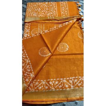 Yellow cotton-viscose saree with Batik print - 3