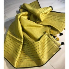 Yellow tissue linen saree with black lines border