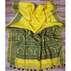 Yellow linen saree with intricately woven black border and pallu