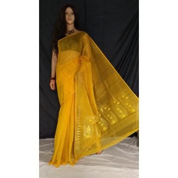 Yellow red zari jamdani cotton silk saree